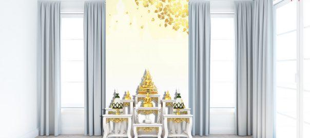 วอลเปเปอร์ ลายไทยใบโพธิ์ พื้นหลังสีทอง