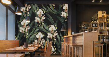 วอลเปเปอร์ติดผนังร้านอาหาร ลายดอกไม้ขาว แบบที่ JAFL-8-EX