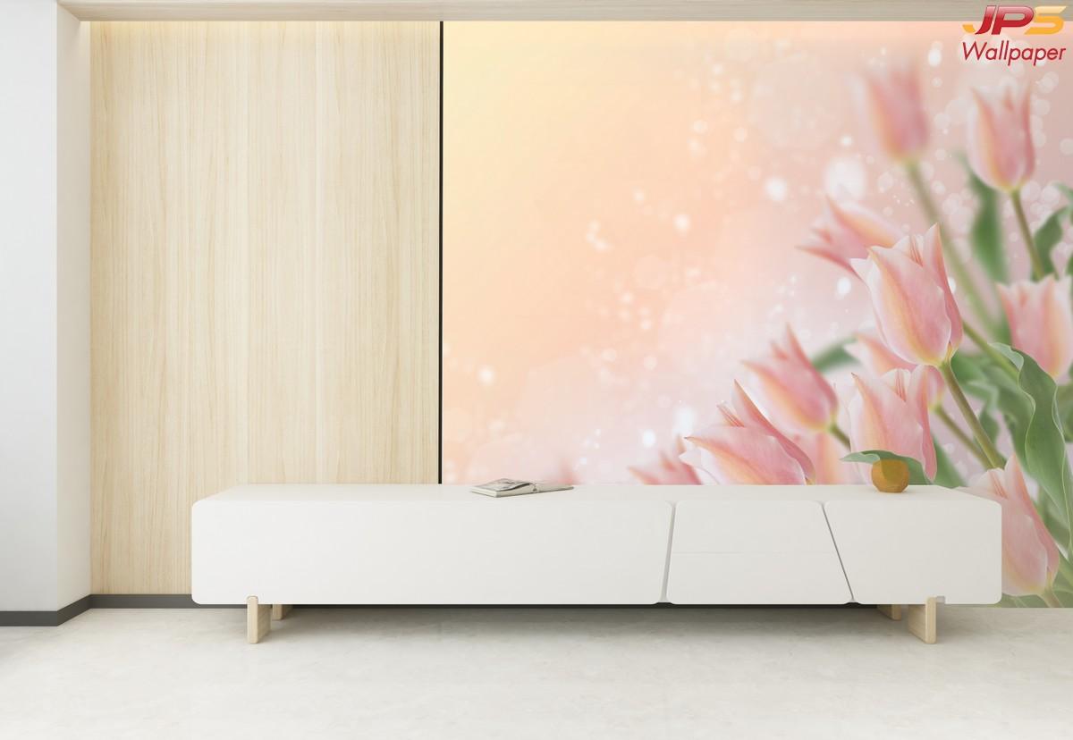 วอลเปเปอร์สั่งพิมพ์ติดห้องนั่งเล่น ลายดอกไม้สีชมพู  แบบที่  JPFL-6-EX