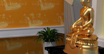 วอลเปเปอร์ติดผนังลายไทย ลายเรือสุพรรณหงส์ สีเหลือง ติดผนังห้องพระ รหัส JPS206